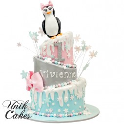 1st-birthday-cake-for-vivienne-with-penguin-topper