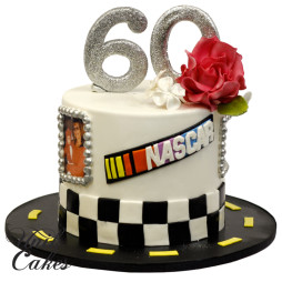 60th-birthday-cake-with-nascar-and-red-rose