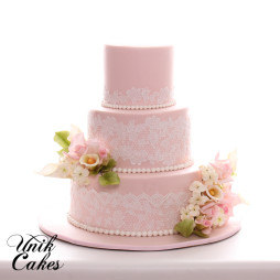 Blush Pink Wedding Cake With Lace And Roses