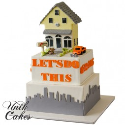 Bridal-shower-cake-with-house-and-car-on-top