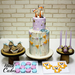 Fox baby shower cake and dessert table (8)