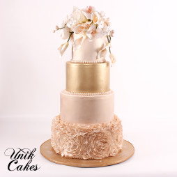 Gold and ivory floral cake