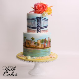 Hand painted Miami skyline cke (3)
