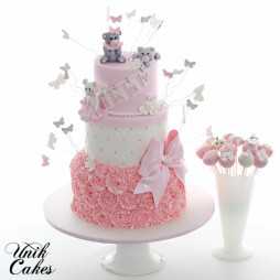 Bears And Butterflies Baby Shower Cake