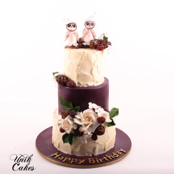 Burgundy And Ivory Winter Birthday Cake