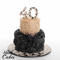 Black Ruffles And Leopard Print 40th Birthday Cake