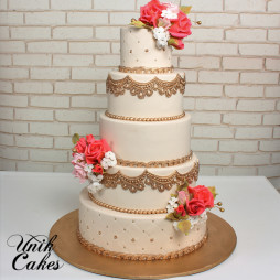 Indian gold and coral wedding cake (3)