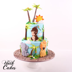 Jungle theme 1st birthday cake (1)