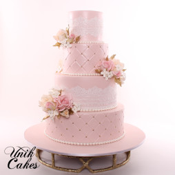 Lace and flowers blush pink wedding cake (12)