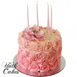 Pink-rosettes-ombre-cake