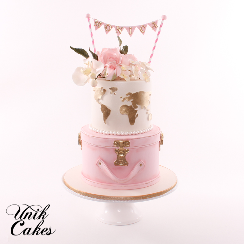 blush pink travel theme bridal shower cake