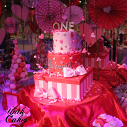 Valentine's day theme 1st birthday cake and dessert table (12)