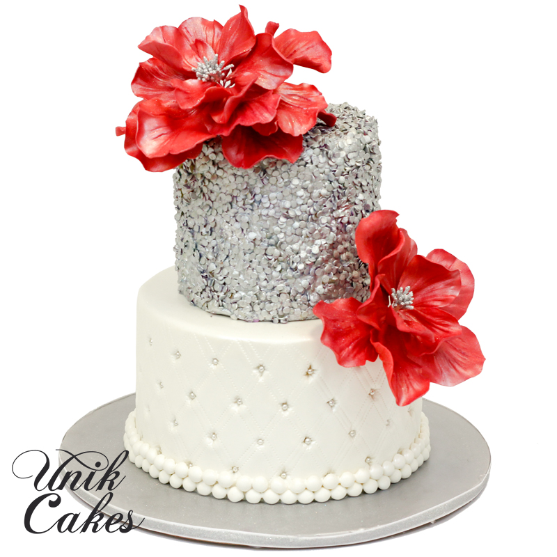 Silver Sequin And Red Flowers Birthday Cake