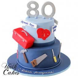 toolbox-and-boxing-gloves-80th-birthday-cake