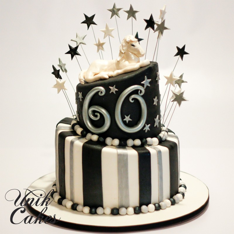 60th Birthday Cake With White Horse