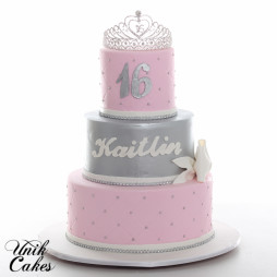 Pink And Silver Sweet 16 Cake With Tiara